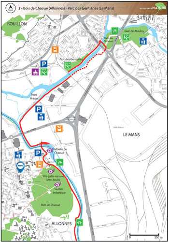 Parcours du Boulevard Nature: Bois de Chaoué (Allonnes) - Parc-des-Gentianes-Le-Mans