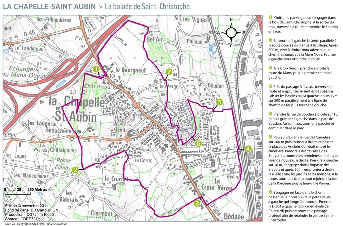Carte : Balade sur La Chapelle St Aubin