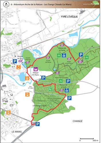 Plan du Boulevard Nature : Arboretum Arche de la Nature - Les Etangs Chauds (Le Mans)