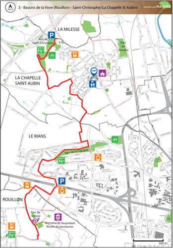 Parcours du Boulevard Nature: Bassins de la Vove  (Rouillon) - Saint-Christophe, La Chapelle Saint Aubin