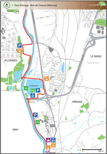 Plan du Boulevard Nature: Port d'Arnage - Bois de Chaoué (Allonnes)